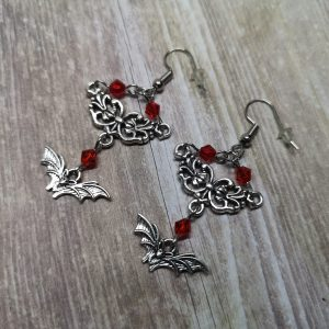 Ayame Designs handcrafted gothic bat earrings
