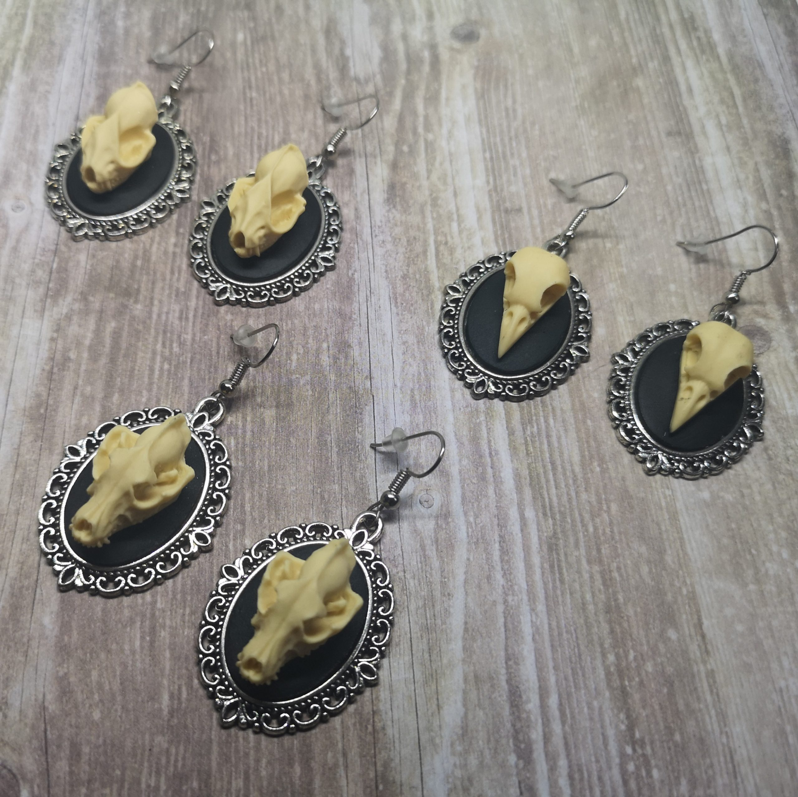 Ayame Designs handcrafted skull cameo earrings
