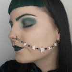 Ayame Designs handcrafted beaded snake vertebrae nose to ear chain