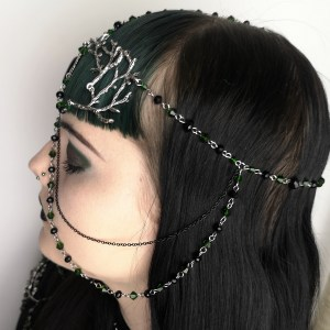 Ayame Designs handcrafted beaded pagan circlet / head chain