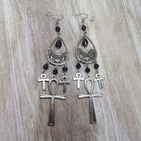 Ayame Designs handcrafted Egyptian ankh earrings