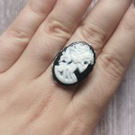 Ayame Designs stainless steel gothic skeleton cameo adjustable ring
