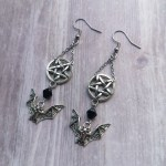 Ayame Designs handcrafted gothic bat pentacle earrings