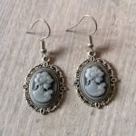 Ayame Designs handcrafted Victorian cameo earrings