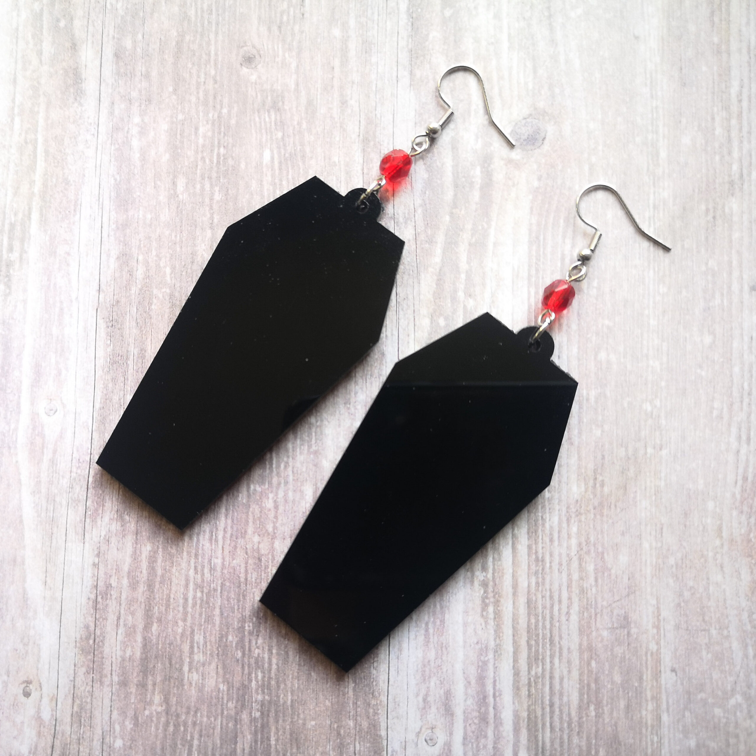 Coffin Laser Cut Perspex Stainless Steel Earrings