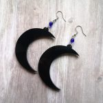 Crescent Moon Laser Cut Perspex Stainless Steel Earrings