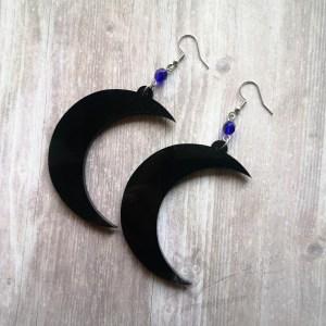 Crescent Moon Laser Cut Perspex Stainless Steel Earrings