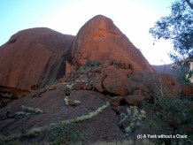 A section of Uluru that illustrates the battle of Liru and Kuniya, an ancient creation story