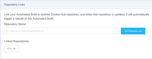 image showing the config page for repository links on docker hub