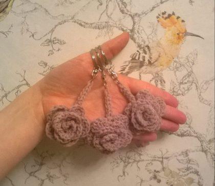 May rose keyrings.... pattern by Attic 24