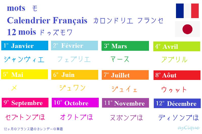 フランス語 単語 カレンダー 12ヵ月