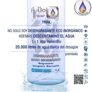 Desengrasante ecologico INORGANICO descontamino agua 1Lx20.000L aydoagua