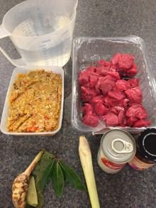 Ingredients for Beef Rendang