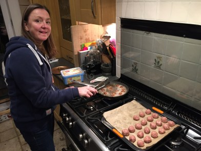 Frying the meatballs