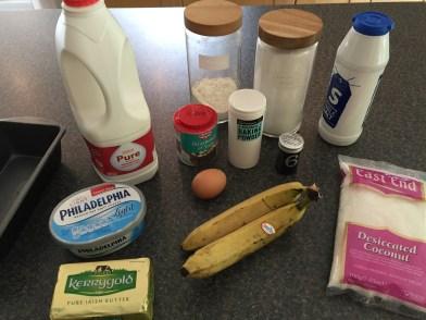 Ingredients for Honduran banana and coconut bread