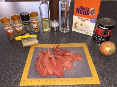 Ingredients for Skoudehkaris (spiced lamb stew)