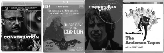 The Conversation-Three Days of the Condor-The Parallax View-The Anderson Tapes-Blu-ray and DVD covers