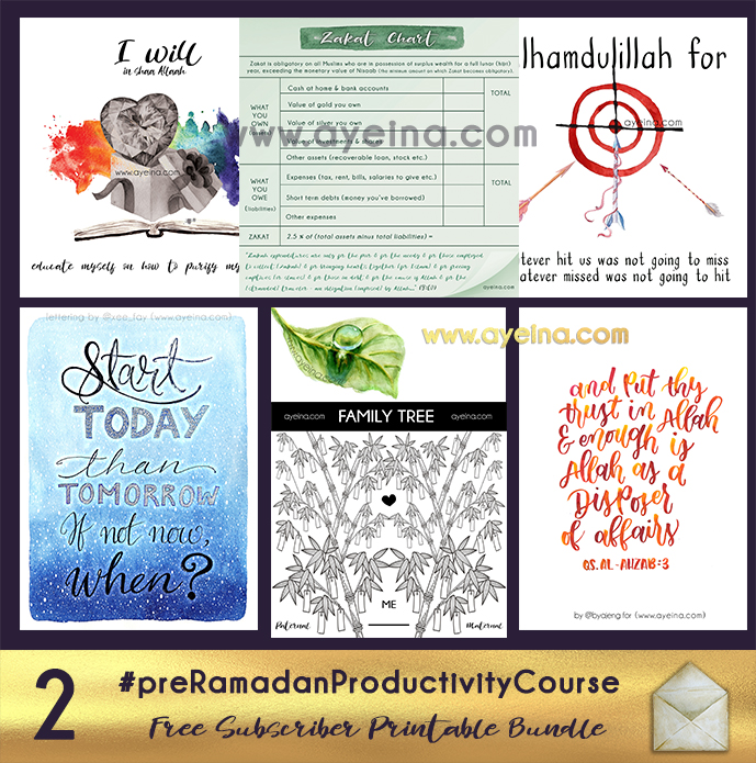 free printable, start today than tomorrow, not a leaf falls but he knows it, free family tree printable, put your trust in allah hand lettering watercolors, i will in shaa Allah free poster, zakat chart, #AlhamdulillahForSeries free poster