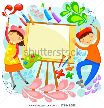 stock-vector-children-painting-around-a-blank-canvas-with-space-for-text-179449697