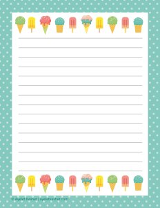 free summer printables - writing paper 1