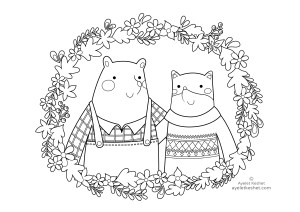 coloring pages about friendship - fox and bear