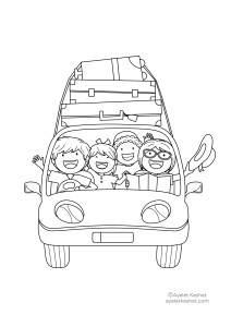 coloring pages about family - car trip