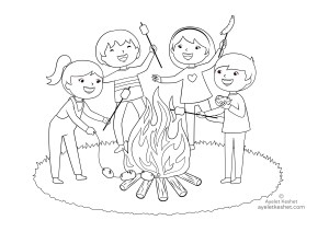 coloring pages about friendship - campfire
