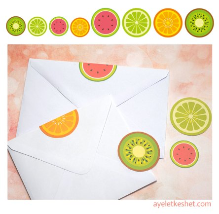 free summer printables - round fruit stickers