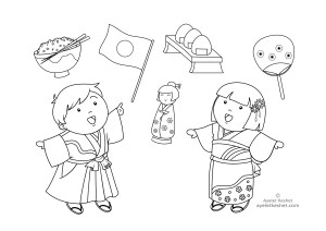 coloring pages about Japan - kids of Japan