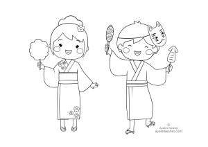 coloring pages about Japan - kids on Natsu Matsuri