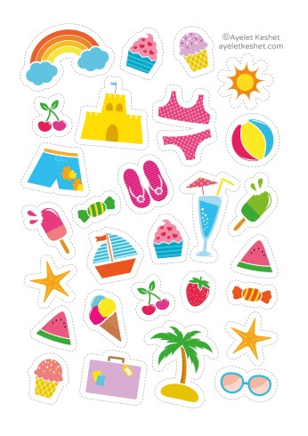 free summer printables - summer stickers