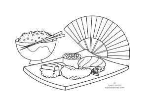 coloring pages about Japan - sushi