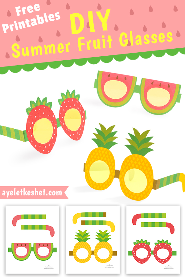 Free Printable Summer Fruit Glasses Ayelet Keshet