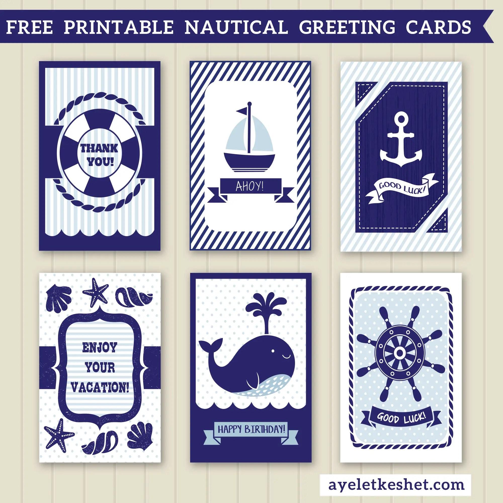 Free Printable Nautical Design Greeting Cards Ayelet Keshet