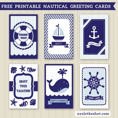 free summer printables - nautical greeting cards