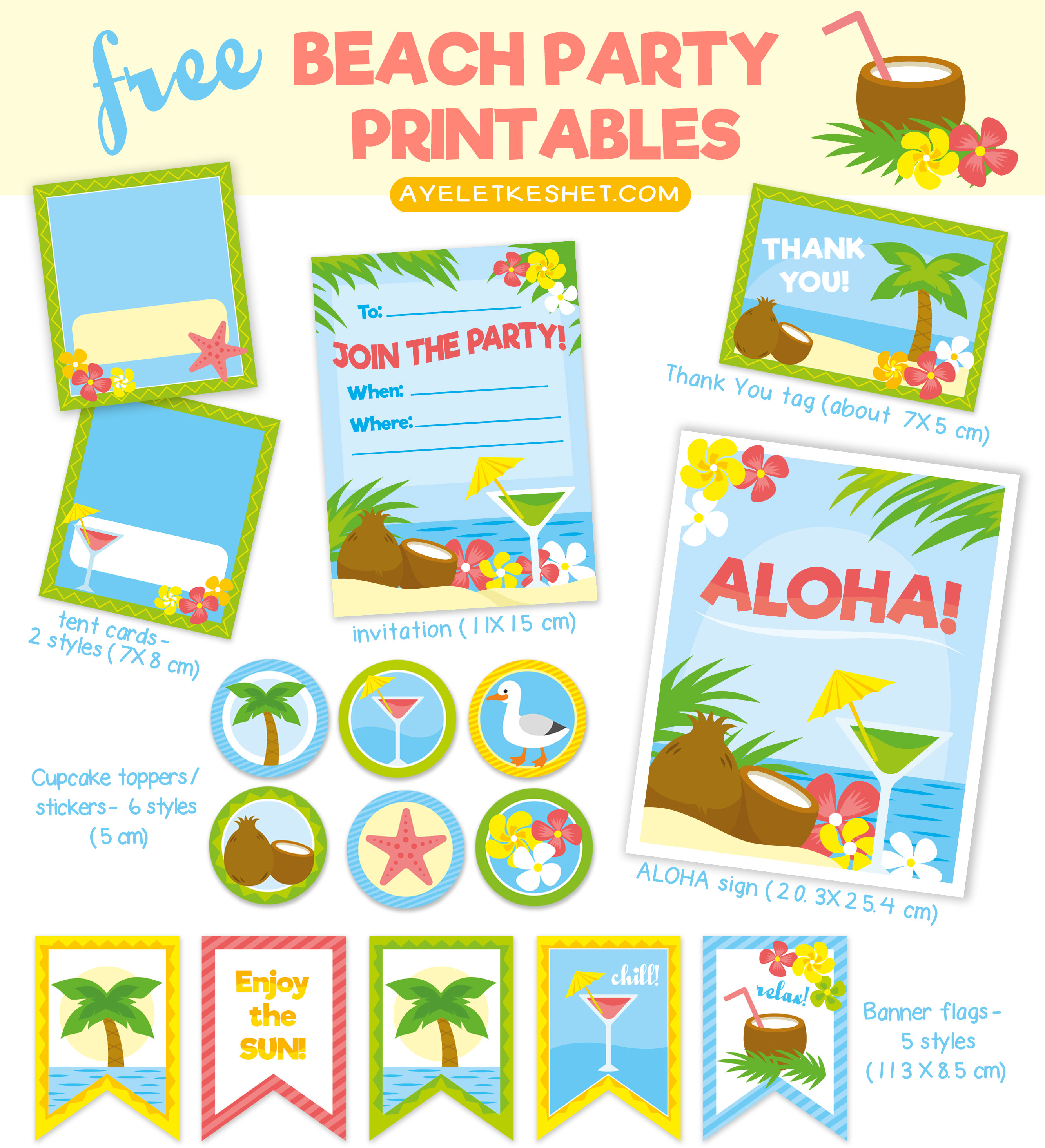 free tropical beach themed party printables ayelet keshet