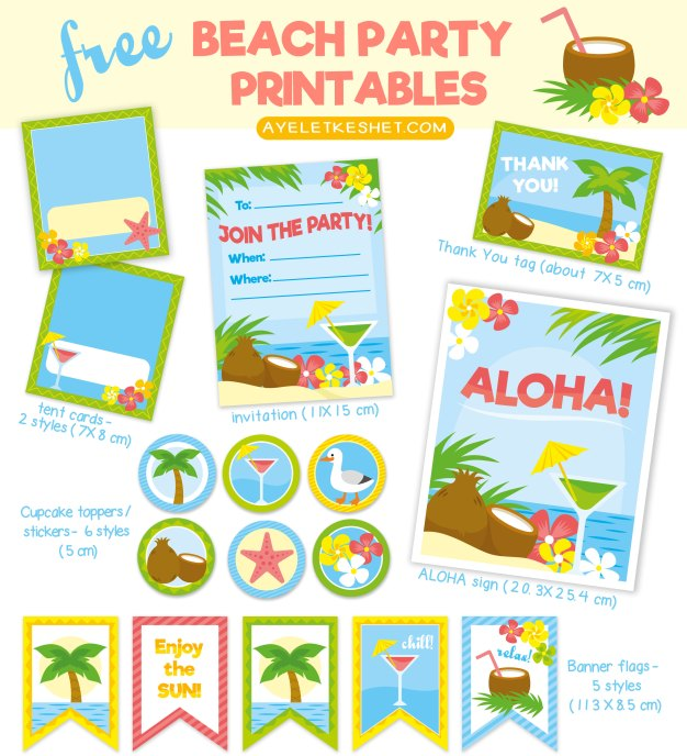 free tropical beach themed party printables