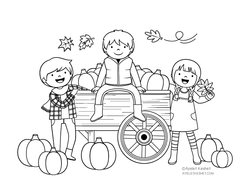 Autumn coloring pages for kids with heart warming