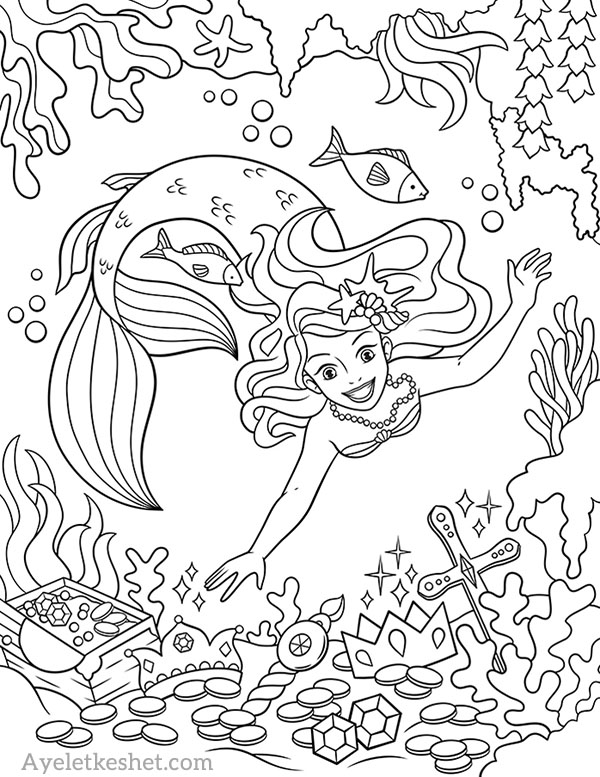 Free Mermaids Coloring Pages - Ayelet Keshet