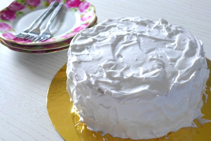 chiffon cake with swiss meringue icing