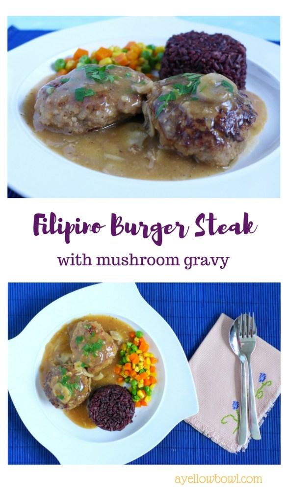 burger steak with mushroom gravy