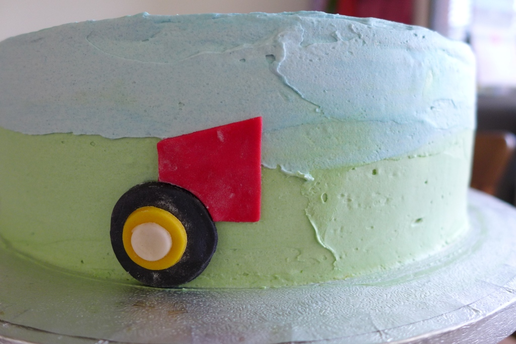 assembling the tractor cake