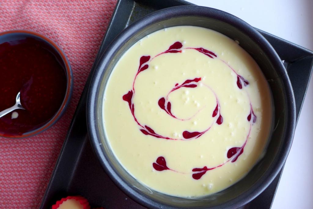 raspberry hearts in the white chocolate raspberry cheesecake