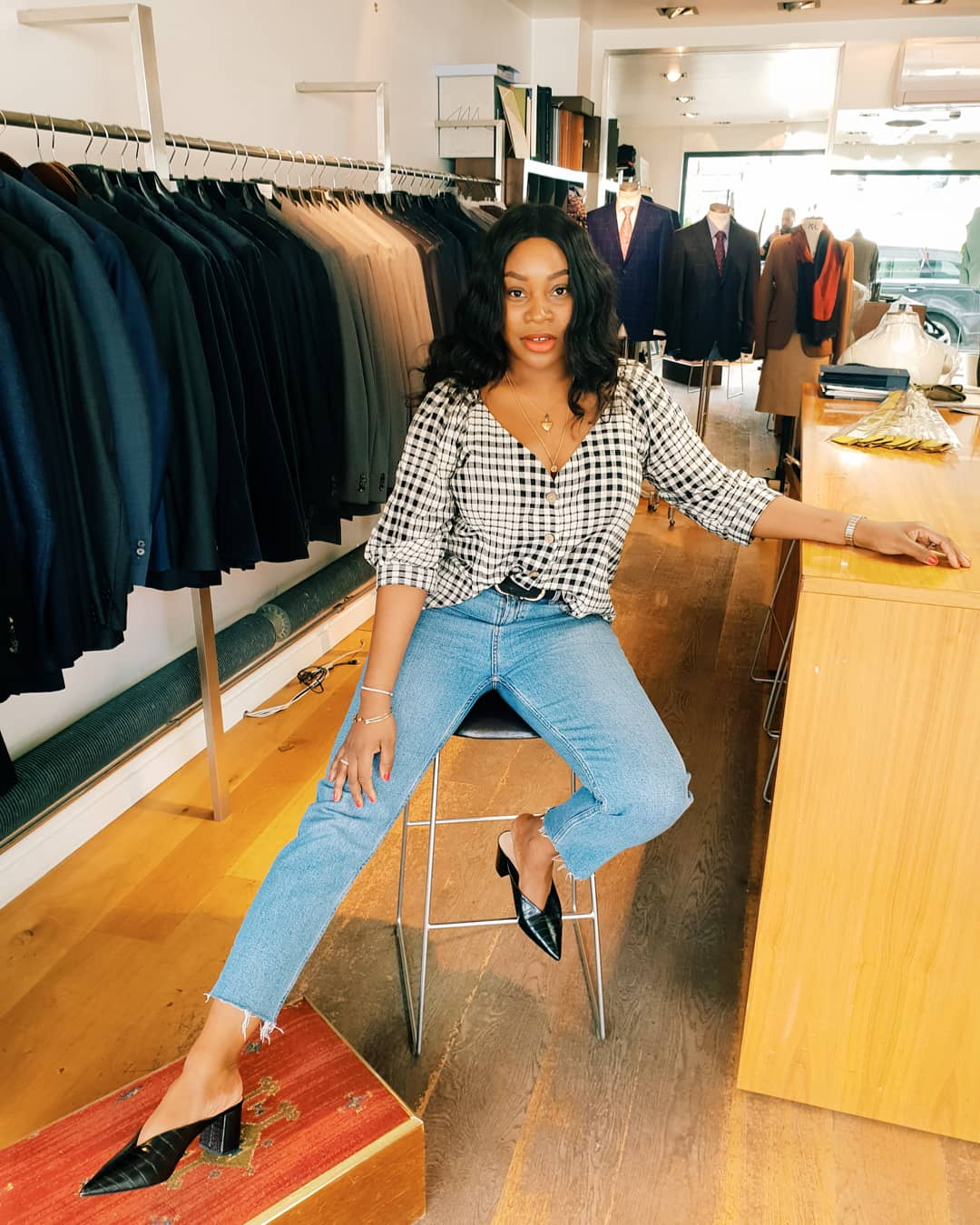 Mum a Porter Style Round-Up Ayesha Amato jeans and Zara mules with Ganni inspired top