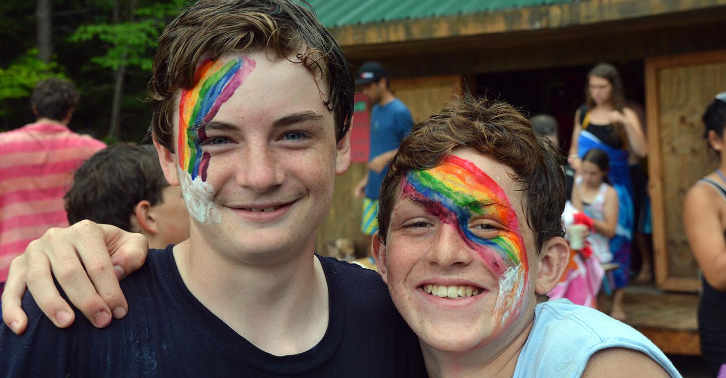 Merrowvista New Hampshire Summer Camp Happy Cute Boys with facepaint