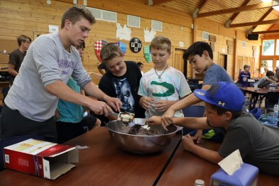 Boys Camp, Michigan, Miniwanca, service, making dessert