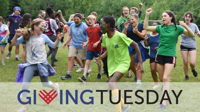 kids running with a giving tuesday logo