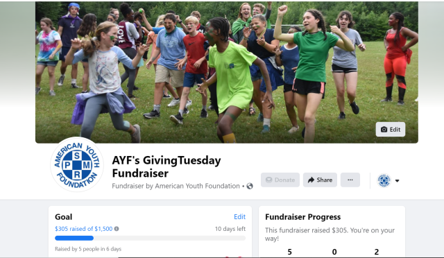 screenshot of facebook fundraiser