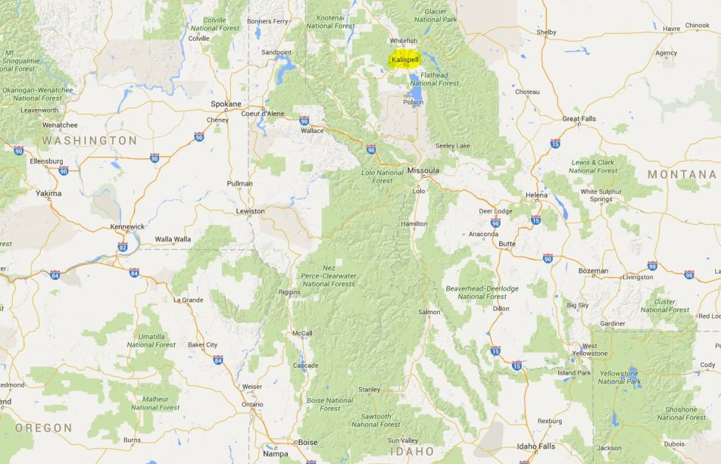Kalispell - Montana haritada konumu
