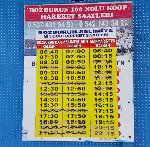 Bozburun-Selimiye-Marmaris minibüs hareket saatleri.